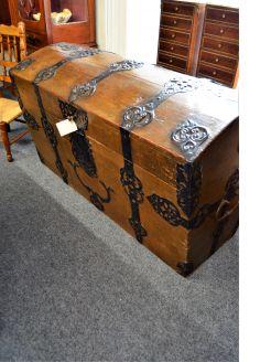 19th century oak & metal bound trunk / chest