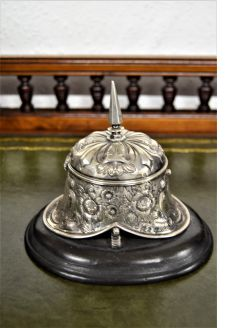 Victorian silver inkwell mounted on wooden plinth