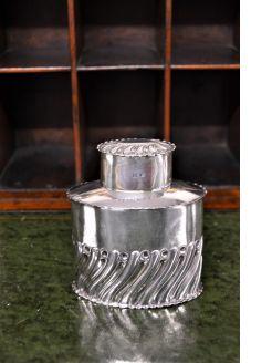 Silver tea caddy