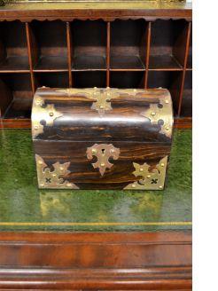 Fitted walnut & brass bound box