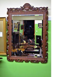 Late 19th century carved mahogany mirror