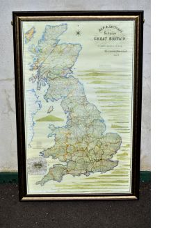 Large 1970s framed railways of great britain map