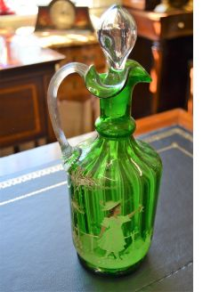 Mary gregory victorian glass decanter