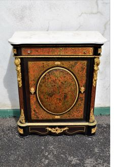 Marble top french boulle cabinet