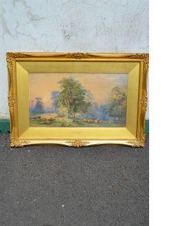 Gilt framed watercolour , signed