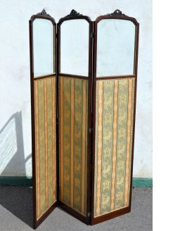 Edwardian mahogany three door floding screen