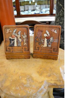 Pair of chinese carved bookends