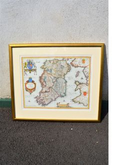 17th century map of ireland framed