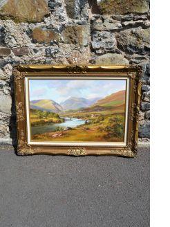 Gilt framed oil painting by denis thornton