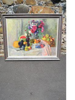 Large framed still life oil on canvas