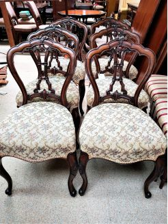 Set of six victorian walnut chairs