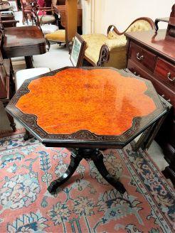 Victorian ebony & walnut table