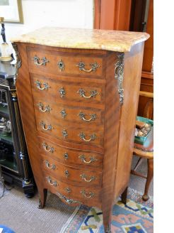 French kingswood marble top chest