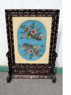 Victorian fire screen with m.o.p inlay