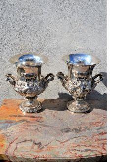 Two irish silver twin handled vases