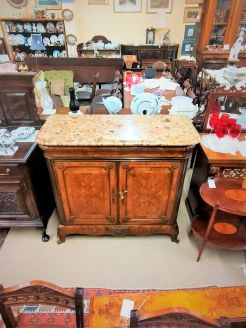 19th century french rosewood cabinet with marble top