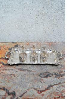 Set six silver liqueur glasses& tray