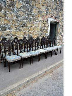 Set of fourteen victorian mahogany chairs