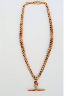 9ct rose gold double albert chain