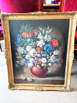 Gillt framed still life oil on canvas