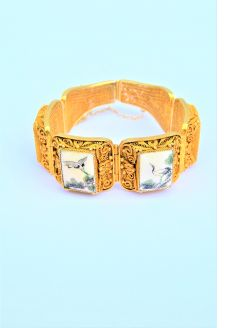 Silver gilt bangle with japanese porcelain insets