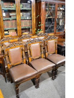 Set of six victorian carved oak dining room chairs