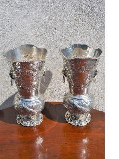 Pair victorian silver vases