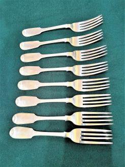 Eight 19th century irish silver forks