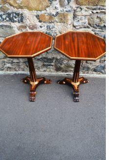 Pair of mahogany Parcel-gilt pedestals tables