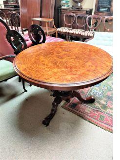 Victorian burr walnut circular table