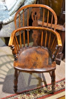 Victorian oak windsor armchair