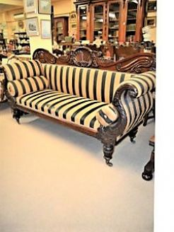 William IV mahogany couch , on castors,