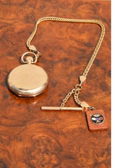 Plated pocket watch & chain