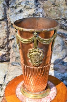 1920s copper and brass vase