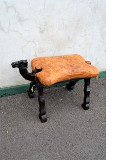1960s camel stool with leather seat