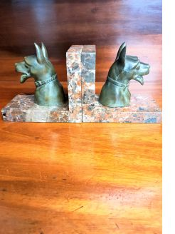 Pair of french marble & spelter bookends