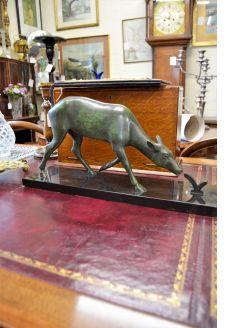 Art deco bronze & marble figure of a deer