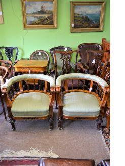 Pair victorian mahogany tub chairs