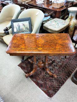 Victorian burr-walnut card table