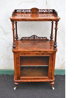 Victorian burr-walnut music cabinet