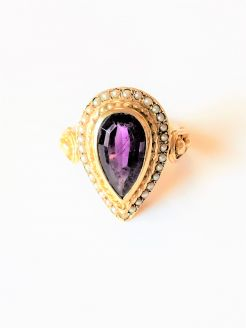 9ct gold amethyst & pearls ring