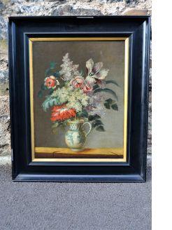 Framed still life oil on canvas