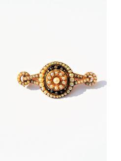 Victorian pearl & enamel brooch
