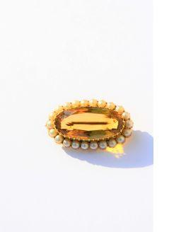 Victorian gold ,pearl & citrine brooch