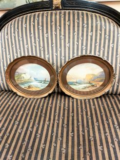 Pair of oval framed watercolours