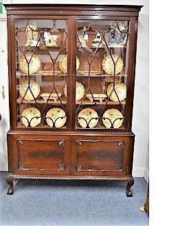 Two door edwardian mahogany display cabinet