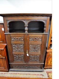 Victorian carved oak cabinet