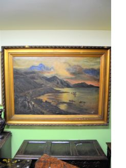 Large gilt framed 19th century oil painting