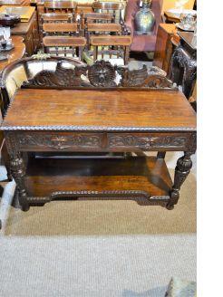 Victorian carved oak side table