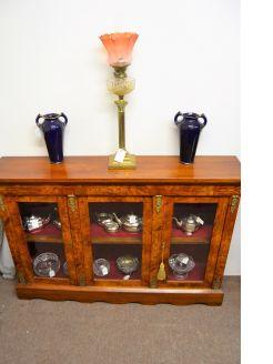 Victorian burr walnut cabinet with ormolu mounts